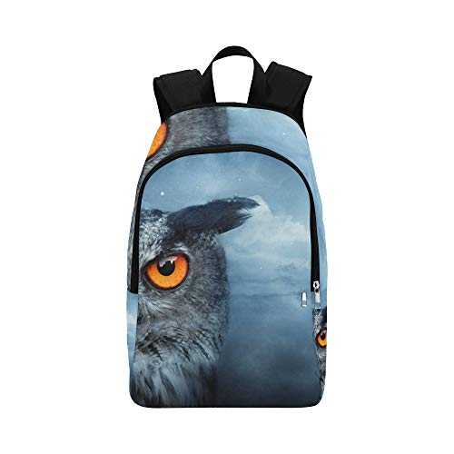 (Angry Owl Moonlight Spooky Forest Dark Stock Photo Casual Daypack Travel Bag College School Backpack for Mens and)
