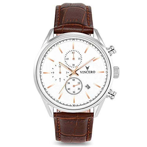 - Vincero Luxury Men's Chrono S Wrist Watch - Top Grain Italian Leather Watch Band - 40mm Chronograph Watch - Japanese Quartz Movement (Silver/Rose Gold)