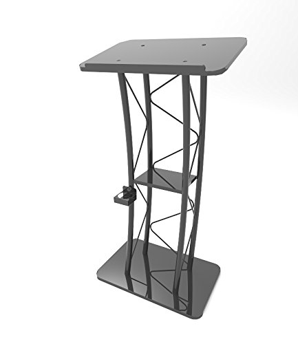 - FixtureDisplays Curved Podium, Truss Metal/Wood Pulpit Lectern with A Cup Holder 11568-FBA