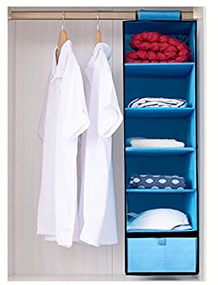 HLLMART 6 Shelves Hanging Closet Organizer With One Drawer