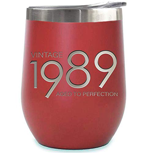 1989 30th Birthday Gifts for Women and Men Red 12 oz Insulated Stainless Steel Tumbler | 30 Year Old Presents | Mom Dad Wife Husband Present | Party Decorations Supplies Anniversary Tumblers Gift th (Cool Gifts For 30 Year Old Male)