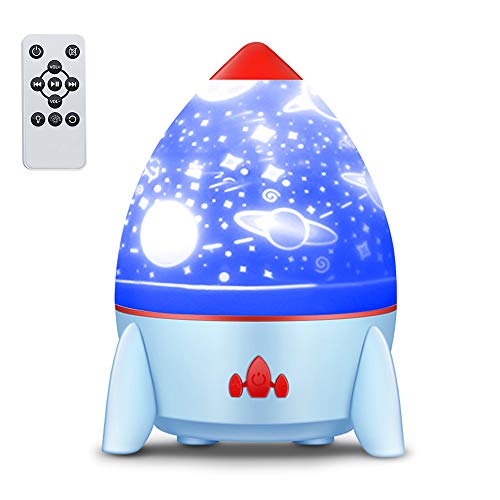 LOBKIN Night Light Projector with Music Rocket Ocean Lights 8 Colors Changing Lamp 4 Music Rotating Remote Control and Timer Design Lamp 360°Sleeping Light for Kids Baby Bedroom Birthday Party (Blue)