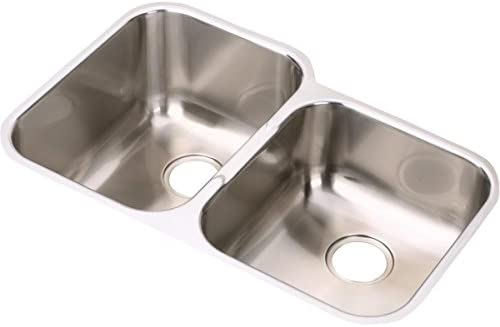 Elkay EGUH312010R Offset Double Bowl Undermount Stainless Steel Sink