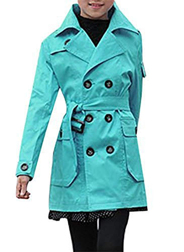 JiaYou Kid Child Girls' Double Breasted Trench Coat Outwear with (Blue Trench Coat)