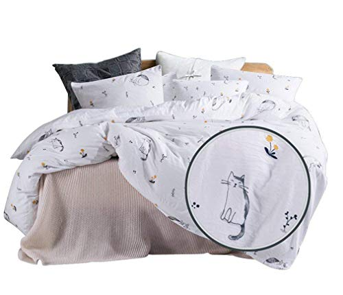 ughome Duvet Cover Sets King Size, Same As Washed Cotton Process Soft Comforter Cover with 2 Pillowcases (Cat, King)