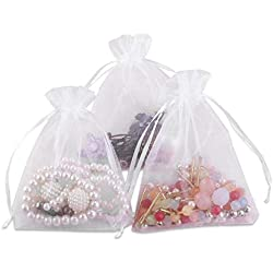 Foxnovo 100 Pack 9x12cm Organza Drawstring Gift Bags, Wedding Favor Bags (White)