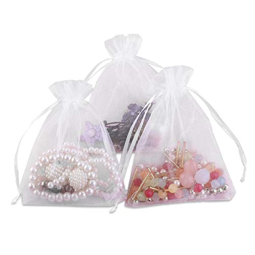 Foxnovo 100 Pack 9x12cm Organza Drawstring Gift Bags, Wedding Favor Bags (White) -