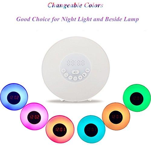 alarm clock wake up light hotweild 7 colors night light radio alarm clocks for kids and. Black Bedroom Furniture Sets. Home Design Ideas