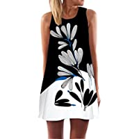 KMG Kimloog Women's O-Neck Boho Sleeveless Summer Beach Sundress Floral Printed Casual T-Shirt Short Mini Dress White