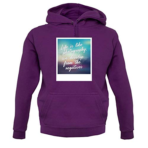 Life is Like Photography, We Develop from The Negatives - Unisex Hoodie - Purple - M (Canon Lens Hoodie)
