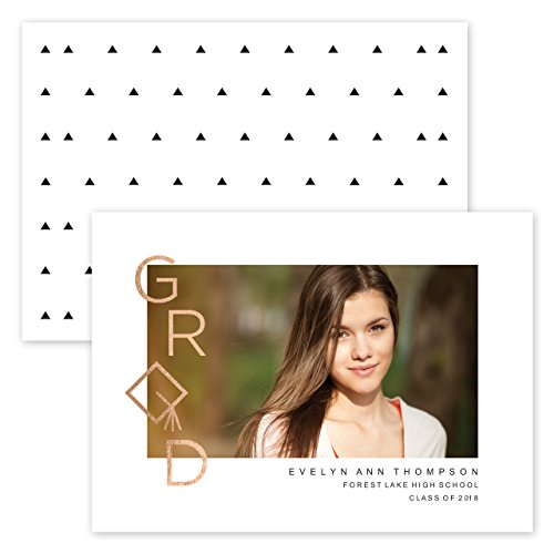 Custom Grad Cap Design Photo Personalized Graduation Announcement - Foil Accents - Minimum Quantity of 50 with white envelopes - 5 x 7, Made in the - Grad Cap 7'