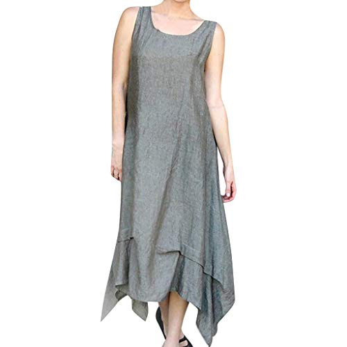 Thenxin Summer Casual Solid Maxi Dresses for Women Round Neck Simple Long Skirt (Gray,XXL)