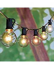 Outdoor Patio String Lights-100Ft G40 Backyard Lights with 104 5W Edison Clear Bulbs (4 Spare), UL listed Waterproof Hanging Lights for Balcony Porch Bistro Party Decor, C7/E12 Socket, Black