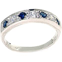 10k White Gold Natural Diamond and Sapphire Womens Band Ring (0.18 cttw, H-I Color, I2-I3 Clarity)
