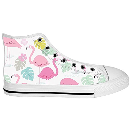 Custom Flamingo Pattern Mens Canvas shoes Schuhe Lace-up High-top Sneakers Segeltuchschuhe Leinwand-Schuh-Turnschuhe C
