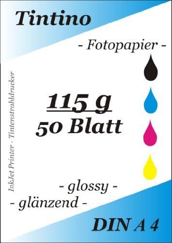 Fotopapier DIN A4Format 115g/m² Ultradünn/glänzend/sofort trocknend/wasserresistent, Farbe glänzend für Tintenstrahldrucker glänzend weiß/50Seiten