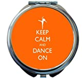 Rikki Knight Keep Calm and Dance On Orange Color Design Round Compact Mirror