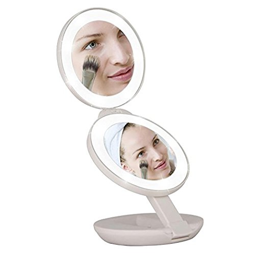 (LED Lighted Travel Makeup Magnifying Mirror, 1X/5X Double Sided Compact Folding LED lighted Mirrors,Lightweight and Portable for E-Z use, Pocket Vanity/Cosmetic Mirror (White) )