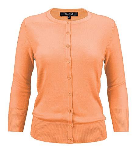 YEMAK Women's 3/4 Sleeve Crewneck Button Down Knit Cardigan Sweater - Rich Crew Sweater