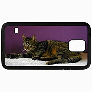 Fashion Unique Design Protective Cellphone Back Cover Case For Samsung GalaxyS5 Case Resting Cat Black