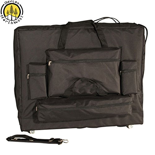 DevLon NorthWest Universal Massage Table Carrying Case With Wheels 4 Front Pockets Black (28'' Bag)