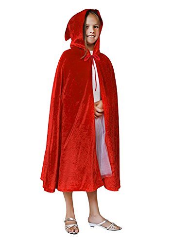 [Kids Velvet Halloween Costume Long Witch Vampire Hooded Cloak Cape Fancy Dress Outfit] (Red Hood Joker Costume)