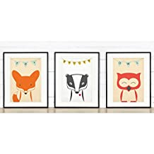 Retro poster set, forest friends, fox, badger, owl, nursery wall decor, baby animals, vintage art print, for kids, A3