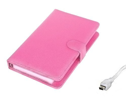 """Afunta Colourful 7 inch Universal Tablet PC Leather Case with Keyboard/Holder/Capacitive stylus for 7"""" Tablet PC MID PDA (Mini USB Keyboard, Pink)"""