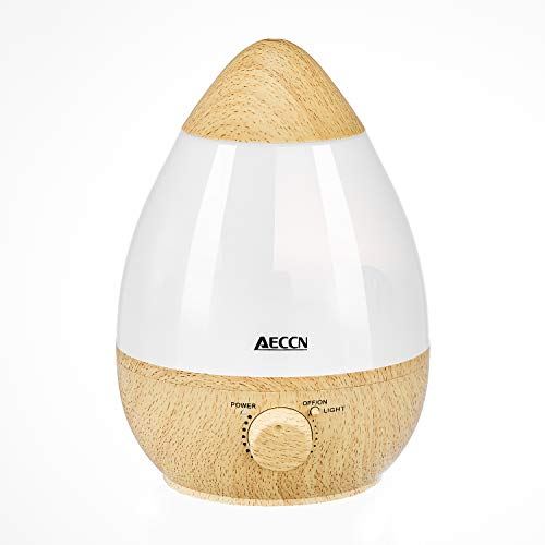 AECCN Cool Mist Humidifier – Ultrasonic Aroma Essential Oil Humidifiers for Bedroom Baby, Premium Humidifying Unit with 2.3L Water Tank, Automatic Shut-Off and 7 Color LED Night Lights – Wood Grain
