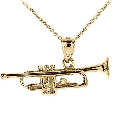 Collier Pendentif 14 ct Or Jaune Trois Dimensionnelle Trompette Musique (Livré avec une 45cm Chaîne)