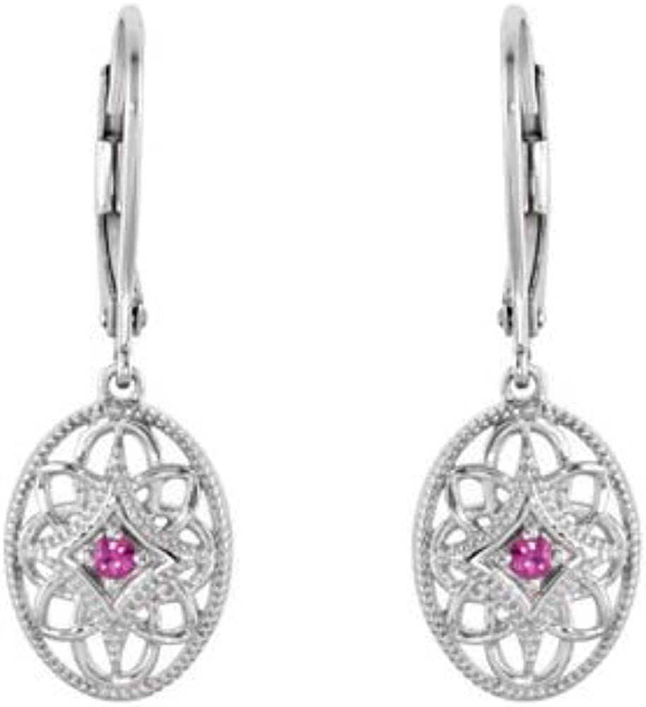Jewels By Lux 925 Sterling Silver Ruby 14.75X09.99 mm Pair Polished