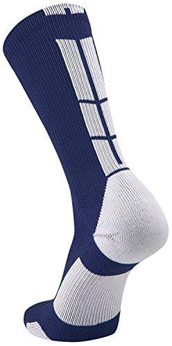 Pack Sock Crew 2 Navy (TCK Sports Elite Performance Crew Socks, Navy/White, Large)