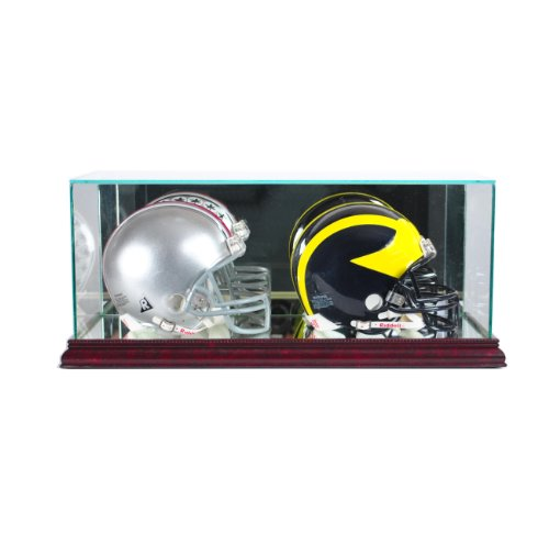 - Perfect Cases NFL Double Mini Football Helmet Glass Display Case, Cherry