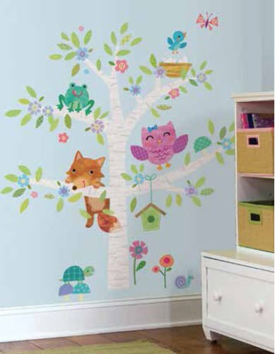 New WOODLAND BABY BIRCH TREE wall stickers MURAL 27 decals f