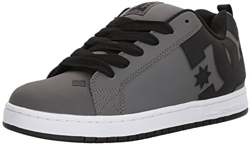 DC Men's Court Graffik Skate Shoe, Grey/Grey/Black, 10.5 D US