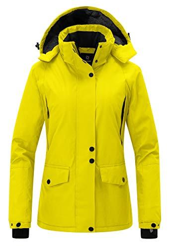 Wantdo Women's Winter Snowboard Jacket Hooded Mountain Waterproof Rainwear Windproof Winter Coat for Skiing(Yellow, Medium)