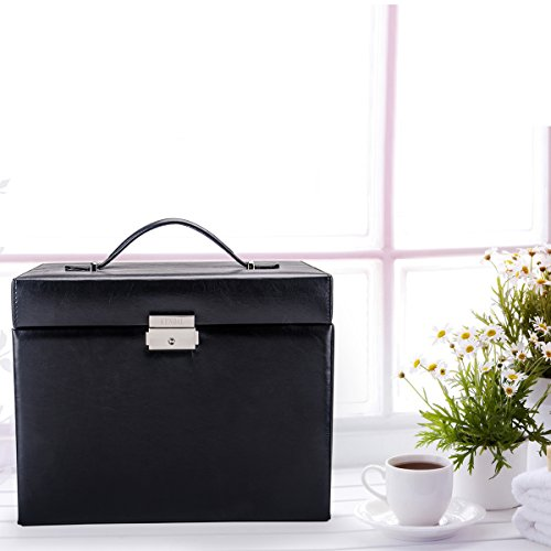 Black Leather Jewelry Box Travel Case and Lock by Kendal (Image #1)