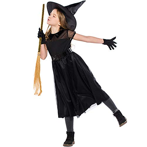 MaxTide The Girl's Halloween Witch Costume Cosplay The Little Witch(L(Height:51-55 Inch)) -
