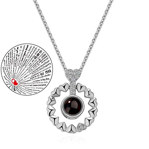 Inf-way I Love You Necklace, 100 Languages Projection on Round Onyx Pendant Loving Memory Collarbone Necklace 1 Pcs (925 Flower Round Silver)