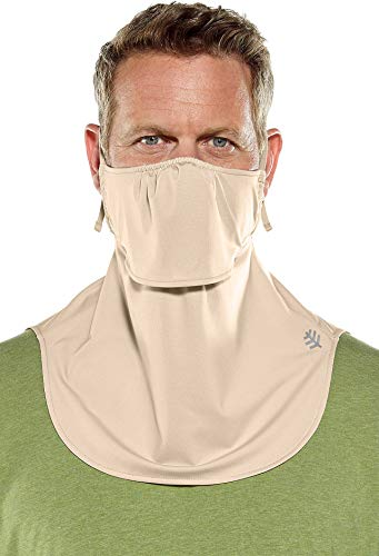 Coolibar UPF 50+ Men's Women's Vermilion UV Layered Mask - Sun Protective (One Size- Beige)