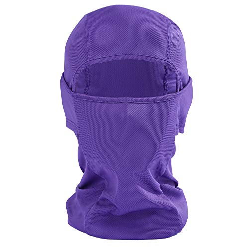 Iusun Balaclava Mask Breathable Windproof Hat Cold Weather Full Face Lightweight Adjustable Mask Motorcycle Neck Warmer for Running Cycling Skiing Outdoor Sports Men Women Unisex (Purple)