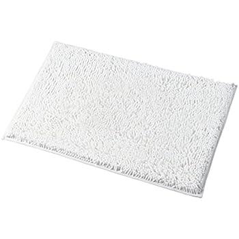 Mayshine 20x32 inch Non-slip Bathroom Rug Shag Shower Mat Machine-washable Bath mats with Water Absorbent Soft Microfibers of - White