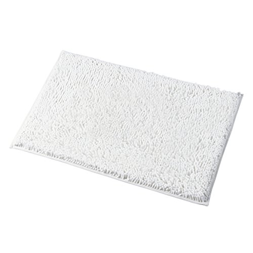 MAYSHINE 20x32 Inches Non-Slip Bathroom Rug Shag Shower Mat Machine-Washable Bath Mats with Water Absorbent Soft Microfibers of - White (Luxurious Bath Rug)