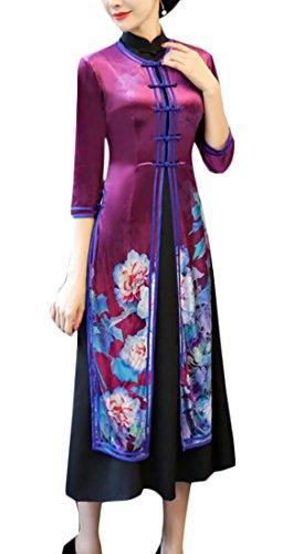 Qipao 1 Cheongsam Print Women Elegant Chinese Sleeve Alion 3 4 Dress Style Midi wfB48qS
