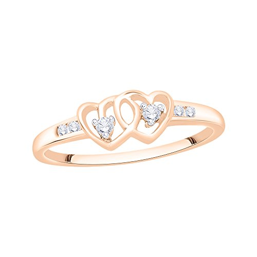 Diamond Fashion Heart Ring in 10K Pink Gold (1/10 cttw) (Size-3)