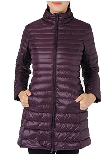 Coats amp;W Packable Purple M Winter Puffer Fashion Down Sleeve Women's Ultra Long amp;S UR1qw4g1P