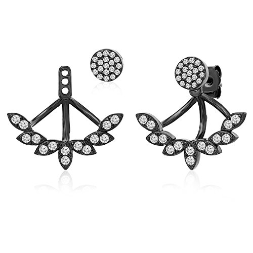 Rohdium Plated - Sterling Silver Black Rohdium Plated Front Back 2 in 1 Cubic Zirconia Stud and Ear Jacket Earrings Set