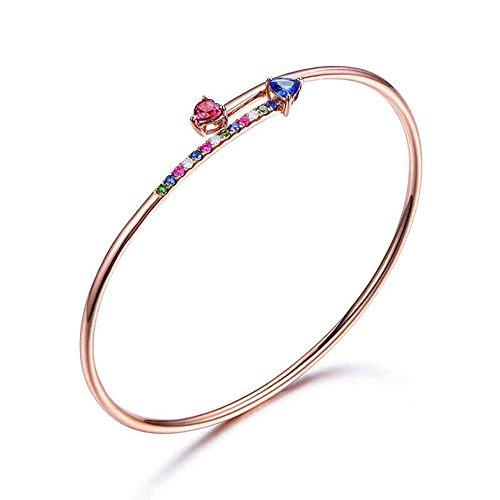 Tanzanite Tourmaline Bracelet Diamond Colorful Gemstone Solid 14k Rose Gold Bangle Women Unique Gift (Tanzanite 14k Bracelet Yellow Gold)