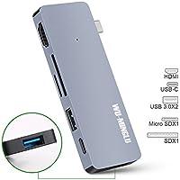 USB C Hub,WU-MINGLU 6 in 1 Type C Adapter ethernet 3.1 with Type C Charging Port,4K HDMI,2 X USB 3.0 Port, microSD/SD Card reader for Macbook, Chromebook Plus, Grey