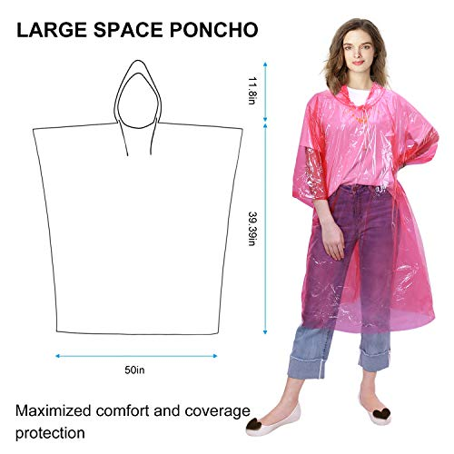 GINMIC Ponchos Family Pack - Rain Ponchos for Kids and Adults, Assorted Colors, Extra Thick 0.03mm, Disposable Emergency Rain Ponchos for Family Travel, Camping, Hiking, Fishing